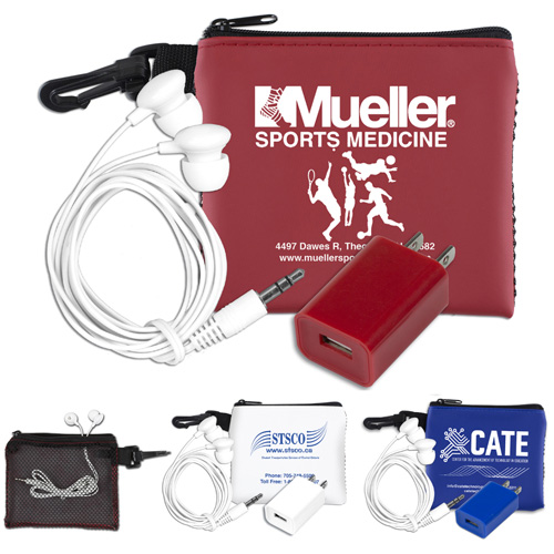 """""""TechMesh Charge"""" Mobile Tech Earbud and Charger Kit in Mesh Zipper Pouch Components inserted into Zipper Pouch"""