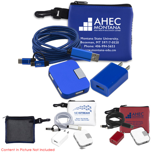 """""""TechMesh Chrg Pro"""" Mobile Tech Charging Accessories Kit in Mesh Zipper Pouch Components inserted into Zipper Pouch"""