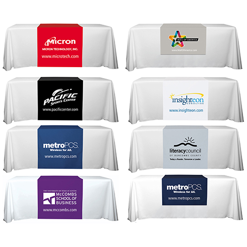 """""""Roger Eight"""" 90"""" L Table Runners (Spot Color Print) / Accommodates 3 ft Table and Larger"""